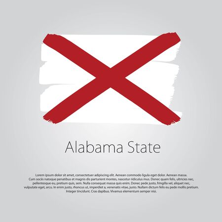 alabama flag: Alabama State Flag with colored hand drawn lines in Vector Format