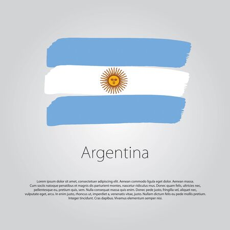 bandera argentina: Argentina Flag with colored hand drawn lines in Vector Format Vectores