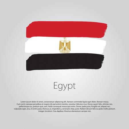 bandera egipto: Bandera de Egipto con líneas de colores dibujados a mano en formato vectorial