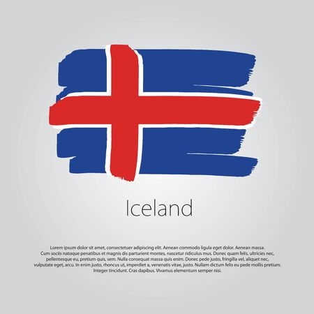 iceland flag: Iceland Flag with colored hand drawn lines in Vector Format