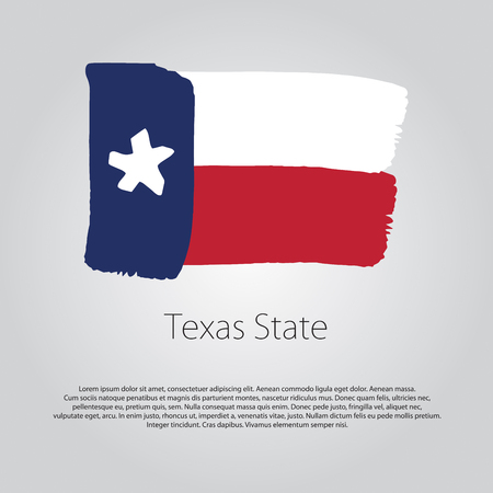 texas state flag: Texas State Flag with colored hand drawn lines in Vector Format