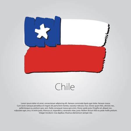 bandera de chile: Bandera de Chile con las líneas dibujadas a mano de colores