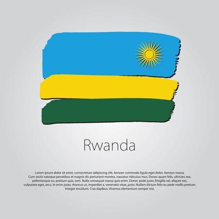 rwanda: Rwanda Flag with colored hand drawn lines