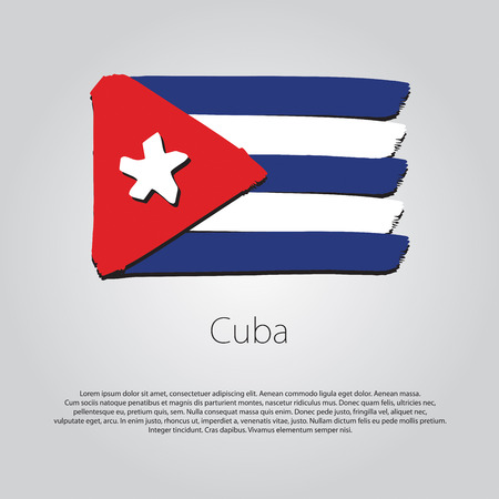 cuba flag: Cuba Flag with colored hand drawn lines Illustration