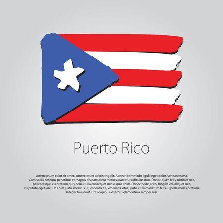 bandera de puerto rico: Bandera con las líneas dibujadas a mano de colores Puerto Rico