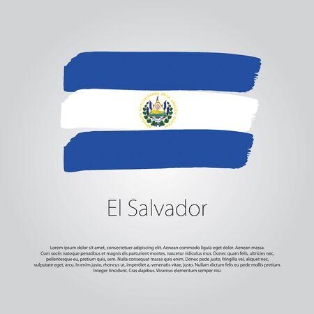 bandera de el salvador: Bandera de El Salvador con las líneas dibujadas a mano de colores