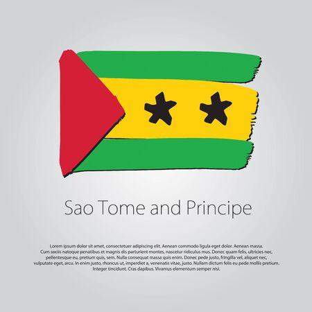 principe: Santo Tom� y Pr�ncipe Bandera con las l�neas dibujadas a mano de colores Vectores