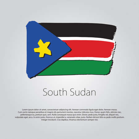 south sudan: South Sudan Flag with colored hand drawn lines Illustration