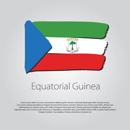 equatorial: Equatorial Guinea Flag with colored hand drawn lines Illustration