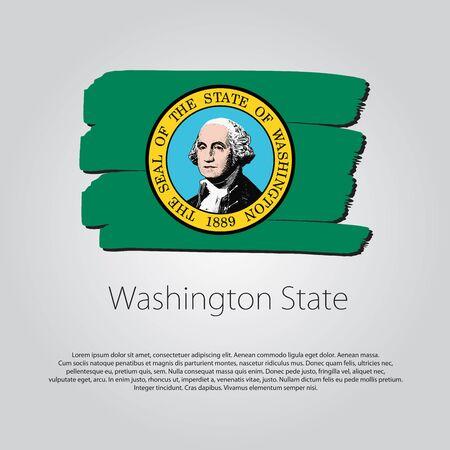 washington state: Washington State Flag with colored hand drawn lines Illustration