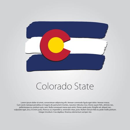 state of colorado: Colorado State Flag with colored hand drawn lines