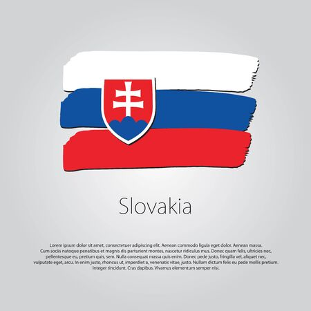 slovakia flag: Slovakia Flag with colored hand drawn lines