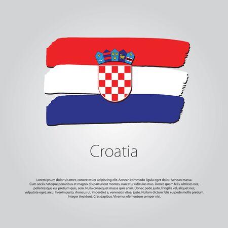 bandera de croacia: Bandera de Croacia con líneas dibujadas a mano de colores