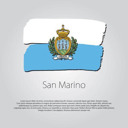 san marino: San Marino Flag with colored Illustration