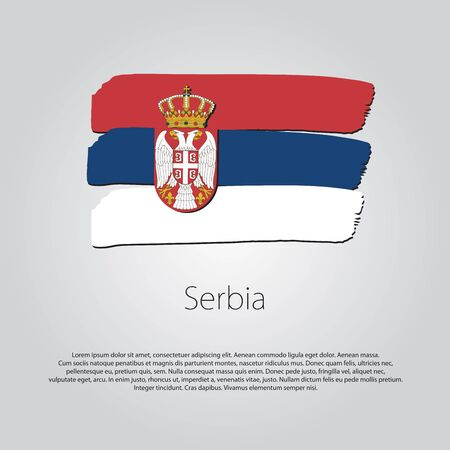 serbia: Serbia Flag with colored