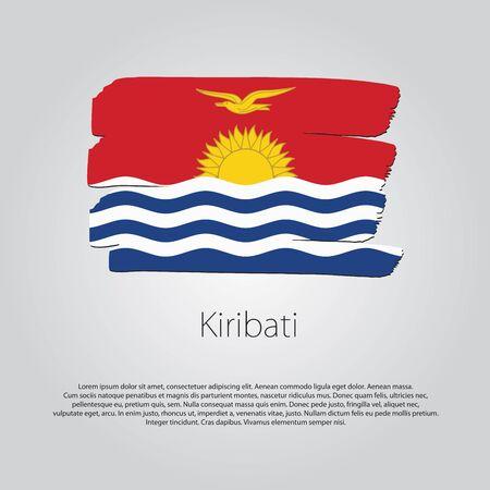 kiribati: Kiribati Flag with colored hand drawn lines in Vector Format