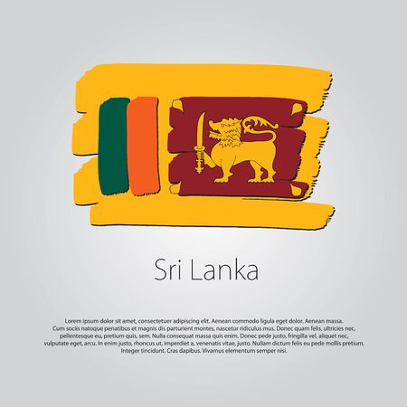 Sri Lanka Flag with colored hand drawn lines in Vector Format