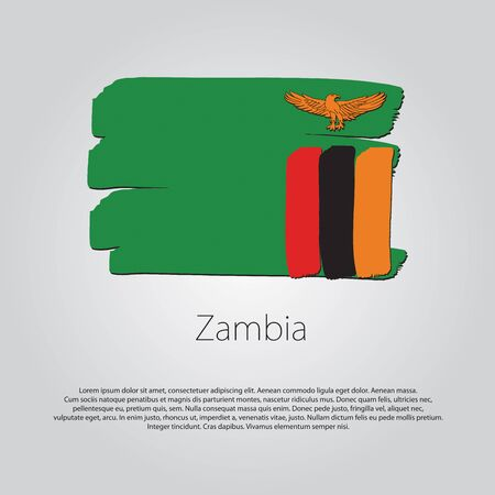 zambia flag: Zambia Flag with colored hand drawn lines in Vector Format