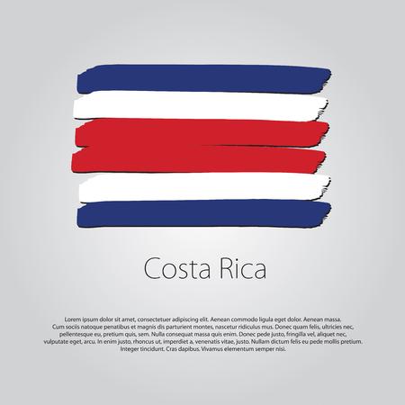 bandera de costa rica: Bandera de Costa Rica con líneas de colores dibujados a mano en formato vectorial