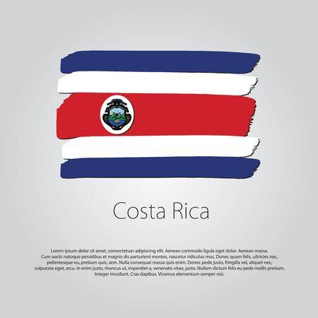 bandera de costa rica: Bandera de Costa Rica con l�neas de colores dibujados a mano en formato vectorial
