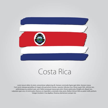 costa rica flag: Costa Rica Flag with colored hand drawn lines in Vector Format