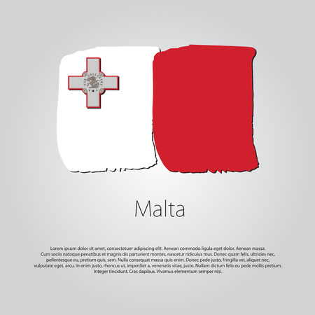 malta flag: Malta Flag with colored hand drawn lines in Vector Format Illustration