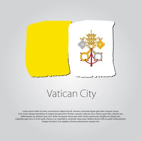 vatican city: Vatican City Flag with colored hand drawn lines in Vector Format