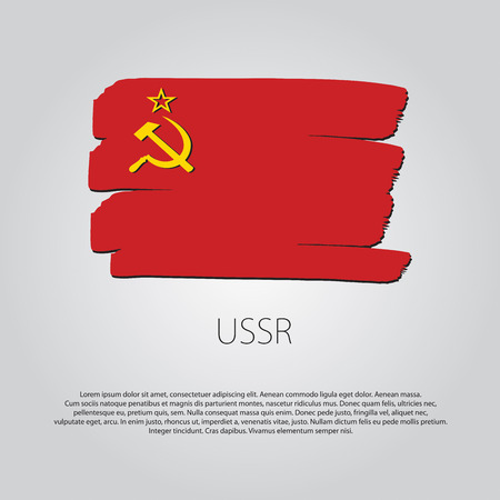 ussr: USSR Flag with colored hand drawn lines in Vector Format