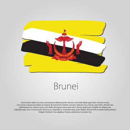 abode: Brunei Flag with colored hand drawn lines in Vector Format