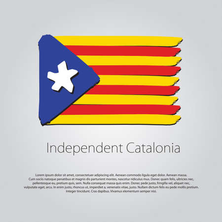 catalonia: Independent Catalonia Flag with colored hand drawn lines in Vector Format