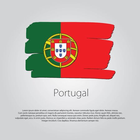 bandera de portugal: Portugal Flag with colored hand drawn lines in Vector Format Vectores