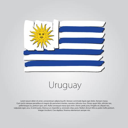 bandera de uruguay: Bandera de Uruguay. con líneas de colores dibujados a mano en formato vectorial Vectores