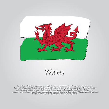 national colors: Wales Flag with colored hand drawn lines in Vector Format Illustration