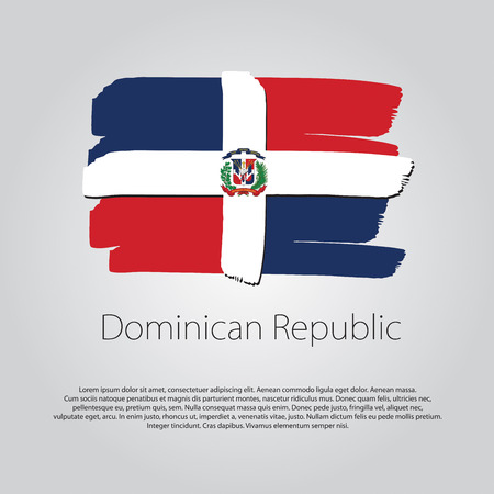 Dominican Republic Flag with colored hand drawn lines in Vector Format Vetores