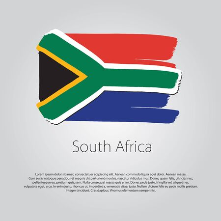 south africa flag: South Africa Flag with colored hand drawn lines in Vector Format