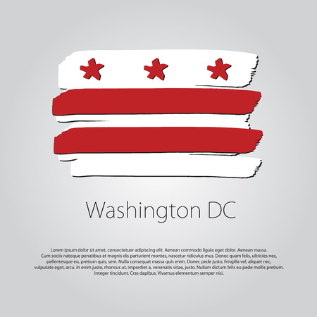 Washington DC Flag with colored hand drawn lines in Vector Format Illustration