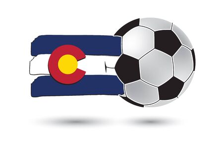 flag of colorado: Soccer ball and Colorado State Flag with colored hand drawn lines