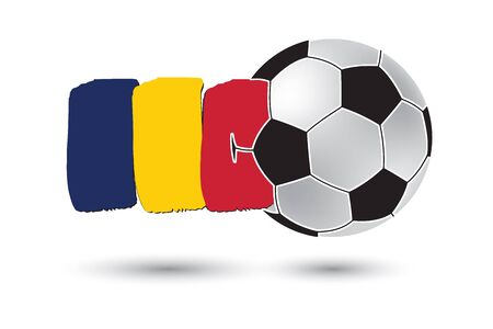 chad flag: Soccer ball and Chad Flag with colored hand drawn lines Stock Photo