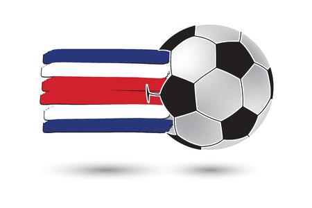 bandera de costa rica: balón de fútbol y la bandera de Costa Rica. con las líneas dibujadas a mano de colores Foto de archivo