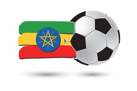 ethiopia  flag: Soccer ball and Ethiopia Flag with colored hand drawn lines