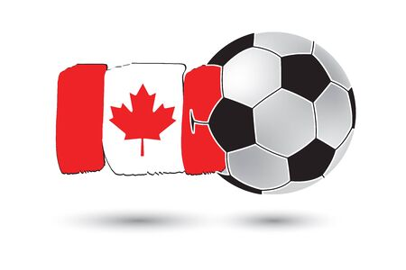 canadian football: Soccer ball and Canada Flag with colored hand drawn lines