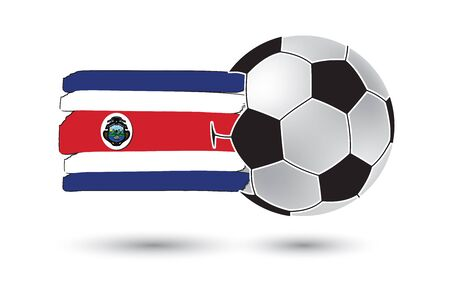 costa rica flag: Soccer ball and Costa Rica Flag. with colored hand drawn lines