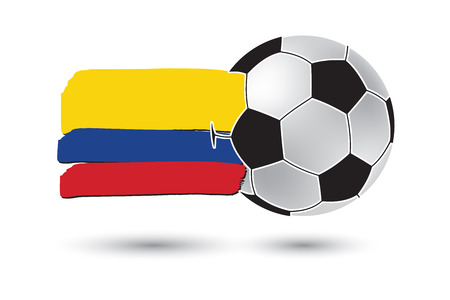 Soccer ball and Colombia Flag with colored hand drawn lines