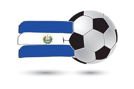 bandera de el salvador: balón de fútbol y la bandera de El Salvador con las líneas dibujadas a mano de colores