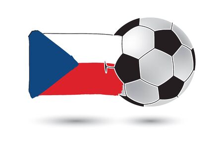 czech republic flag: Soccer ball and Czech Republic Flag with colored hand drawn lines