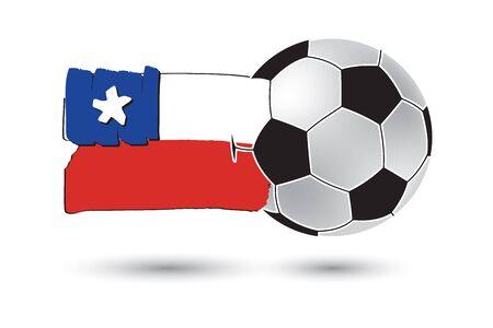 flag of chile: bal�n de f�tbol y la bandera de Chile con las l�neas dibujadas a mano de colores Foto de archivo
