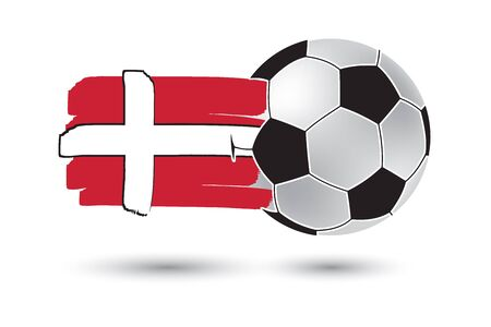 denmark flag: Soccer ball and Denmark Flag with colored hand drawn lines Stock Photo
