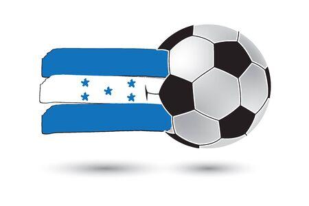bandera de honduras: bal�n de f�tbol y la bandera de Honduras con las l�neas dibujadas a mano de colores