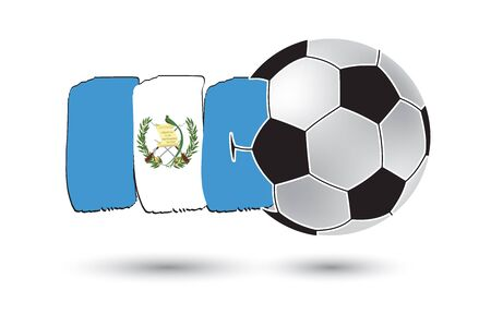 flag of guatemala: Soccer ball and Guatemala Flag with colored hand drawn lines
