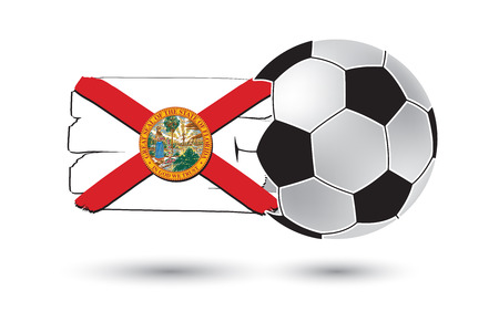 florida state: Soccer ball and Florida State Flag with colored hand drawn lines Stock Photo
